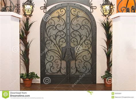 decorative arch iron gate doors stock image image of arch ironwork