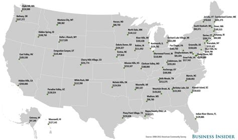 us map with top cities the richest town in each state mental floss
