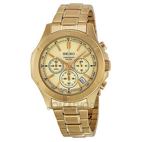 seiko chronograph gold gold tone steel s