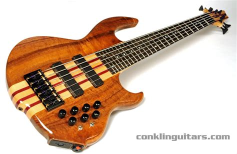 Handcrafted Bass Guitars - custom 6 string bass koa