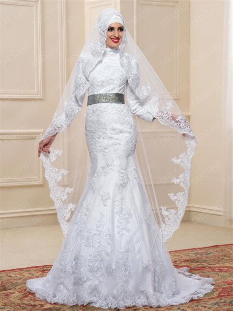 Islamic Wedding Gowns by High Neck Applique Trumpet Mermaid Floor Length