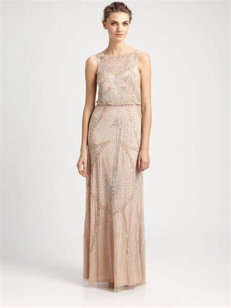 beaded blouson gown aidan mattox beaded blouson gown in pink lyst