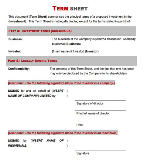 14 Sle Term Sheet Templates To Download Sle Templates Term Sheet Template