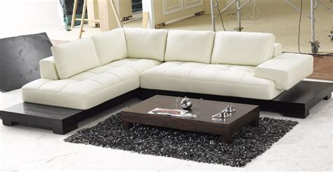Modern Lounge Sofa White Leather Low Profile Sectional Chaise Lounge Sofa Bed With Black Wooden Base For Modern