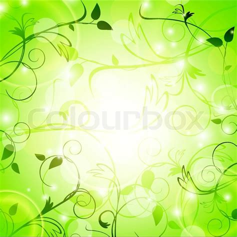 Twig Decor Light Green Floral Background With Swirls Stock Vector