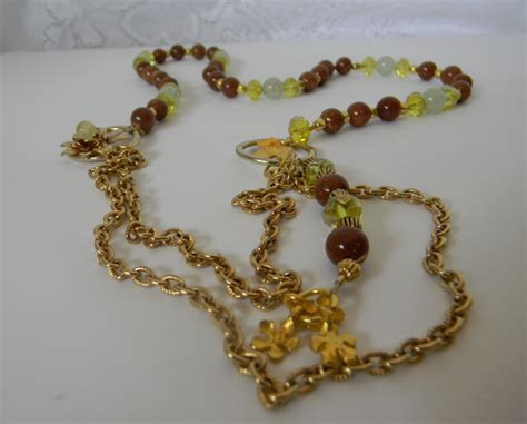 vintage semi precious beaded lariat necklace handmade