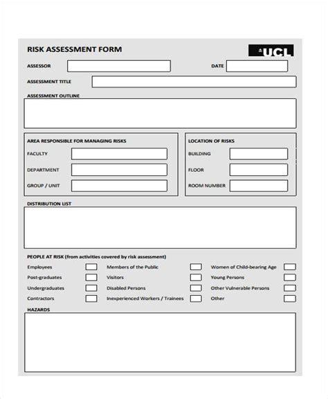 assessment form in pdf sle management risk assessment forms 7 free