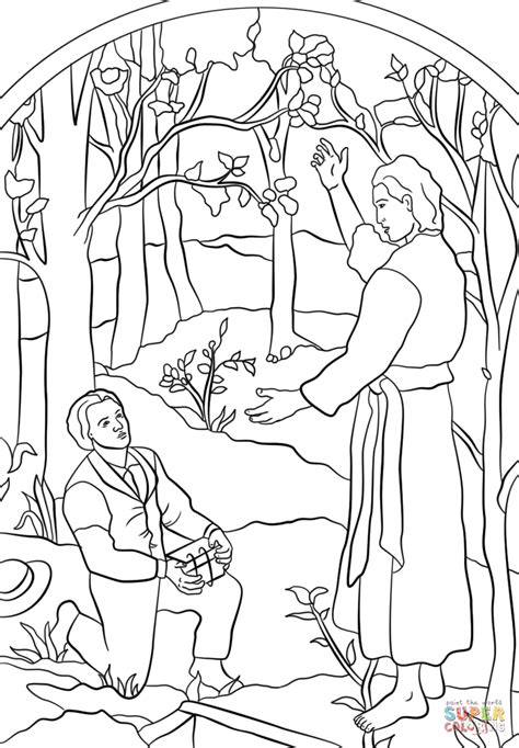 lds coloring pages joseph smith angel moroni visits joseph smith coloring page free