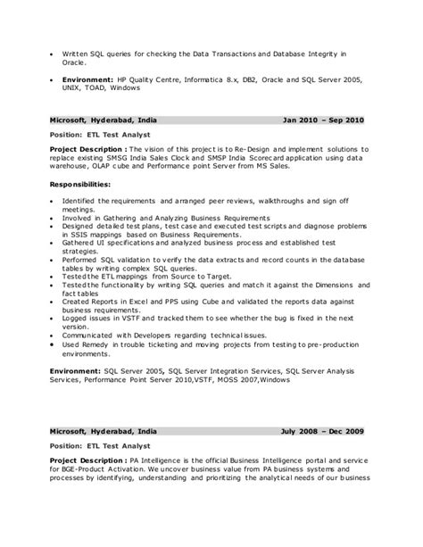 Etl Testing Resume Points by Pradeep Resume Etl Testing