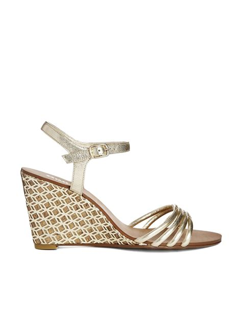 Sandal Wedges Gold Pesta dune hath di gold strappy mid heeled wedge sandals in metallic lyst