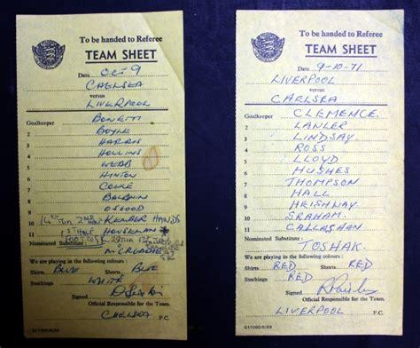 liverpool v chelsea october 1971 teamsheets national