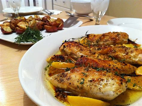 baked herb lemon chicken andicakes