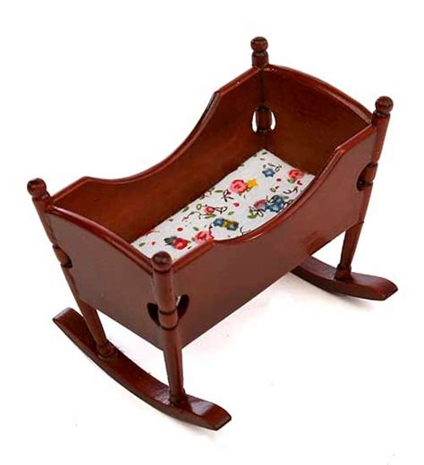Baby Cradle Dollhouse Miniature Wood Rocking Baby Cradle What S New