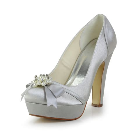 Satin Heels Wedding by S Satin Chunky Heel Closed Toe Platform Wedding