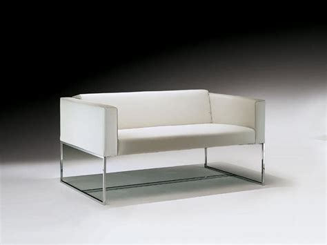 office loveseat sofa with square tubular in steel for waiting room
