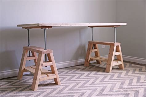 diy adjustable height desk white adjustable height wood and metal stool diy projects