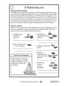 5th grade science worksheets a healthy diet is a