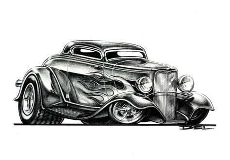 Cartoons And Hot Rods Swanson Artworks Rat Rod Coloring In