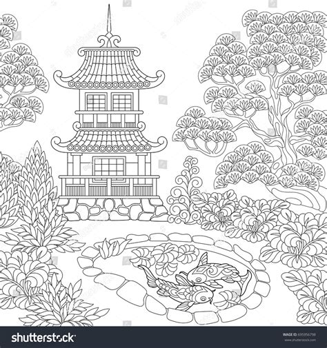 japanese temple coloring page coloring page oriental temple japanese chinese stock