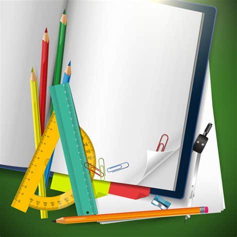 school supplies template vector free school supplies elements background vector free vector in