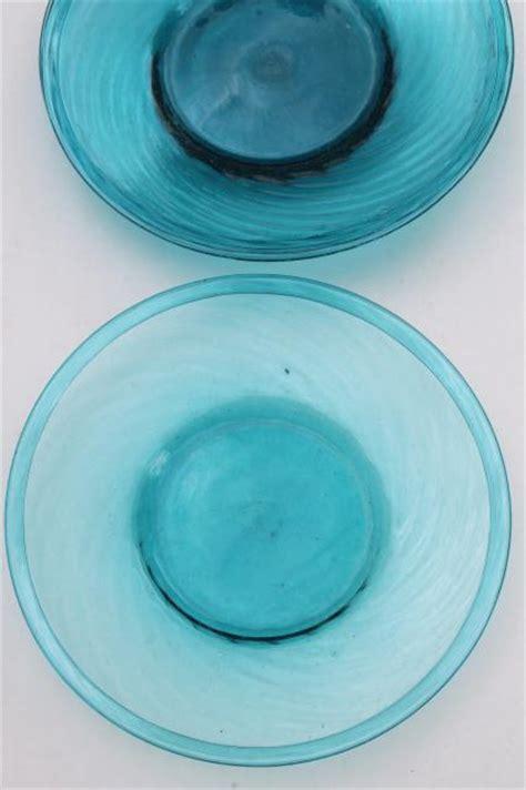 vintage mexican art glass dishes azure aqua blue hand blown glassware  mexico