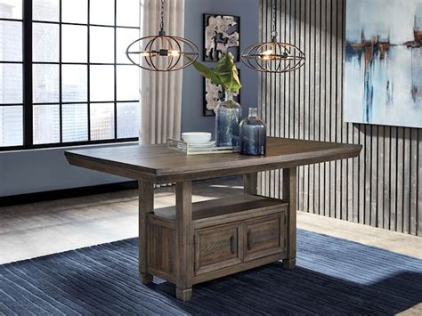 johurst gray rectangular dining room counter table
