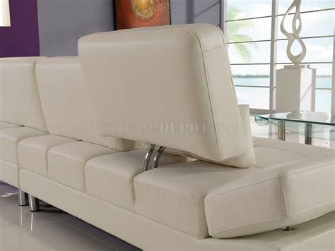 off white leather sectional sofa u1350 sectional sofa in off white bonded leather by global