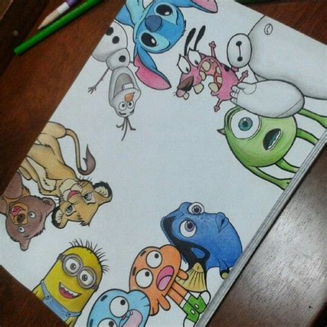 drawn collage disney character pencil and in color drawn