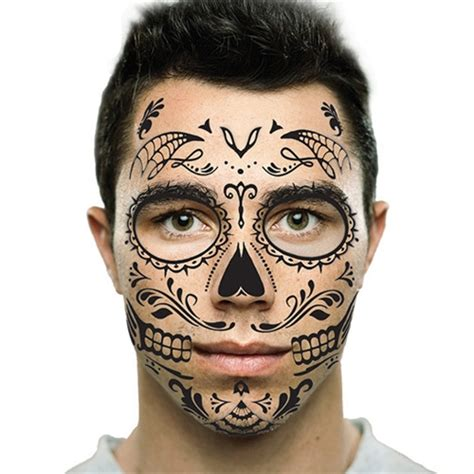 skeleton face tattoo black sugar skull day of the dead temporary