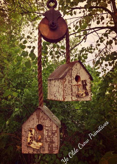 bird home decor beautiful bird houses on a antique pulley made from