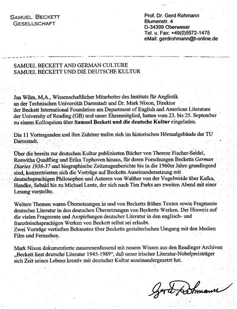 Bewerbung Englisch Sehr Geehrte Damen Und Herren November 2011 Seite 2 Samuel Beckett Gesellschaft Der