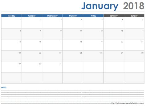 printable january 2018 calendar with notes january 2018 calendar with space note printable 2017