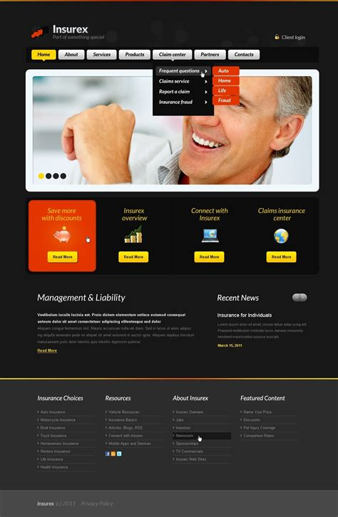 insurance site template insurance website template web design templates website