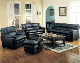 Leather Livingroom Set by Leather Living Room Set In Black Sofas