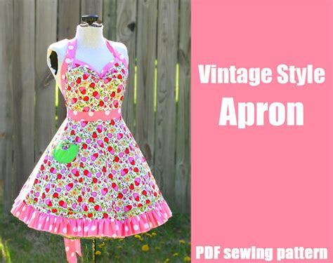 sewing pattern pdf vintage vintage style retro apron printable pdf pattern