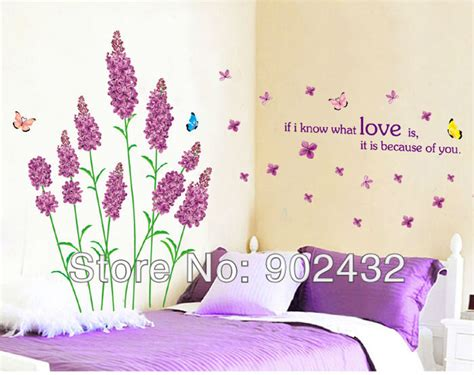 Wallsticker Jm 7151 aliexpress buy wall stickers purple lavender and butterfly home decor wall decals