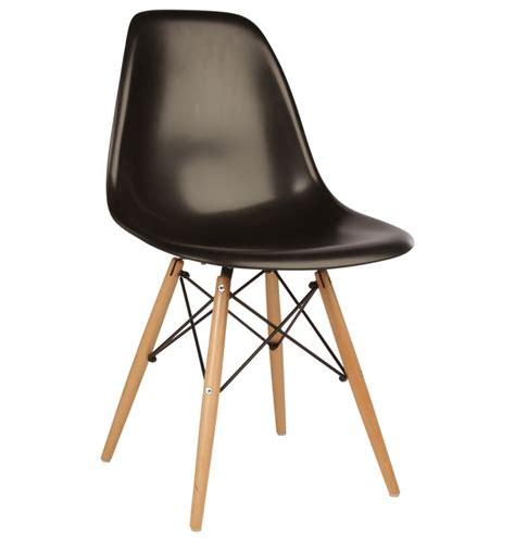 20th century black plastic dining chair with beech legs