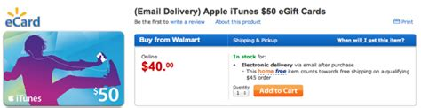 Walmart Itunes Gift Card - walmart offering 50 itunes gift card for 40 email delivery