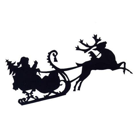 santa in sled silhouettes free santa sleigh christmas
