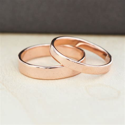 Hochzeitsringe Rosegold by Gold Wedding Band Set Gold Wedding Rings 3mm And 4mm