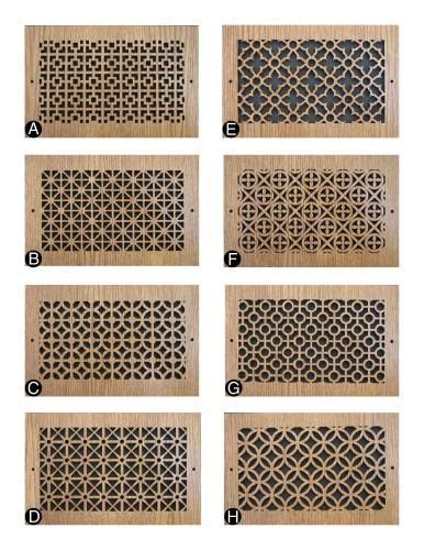 pattern cut wood grilles decorative return air grill covers hardware pinterest