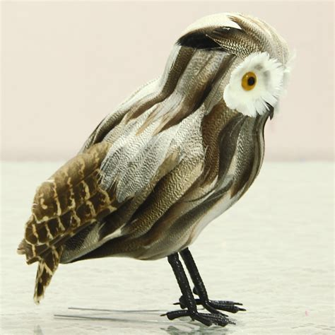 Handmade Garden Ornaments - lifelike feather owl creative animal figurine handmade