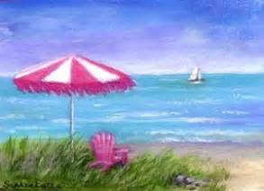 Original painting pink and white beach umbrella chair ocean seascape