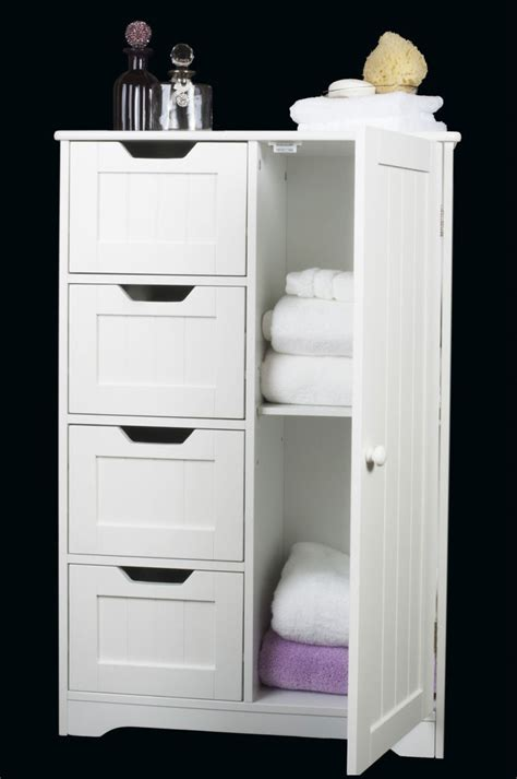 White Bathroom Furniture Storage Four Drawer Door White Wooden Storage Cabinet Bathroom Bedroom Freestanding Storage