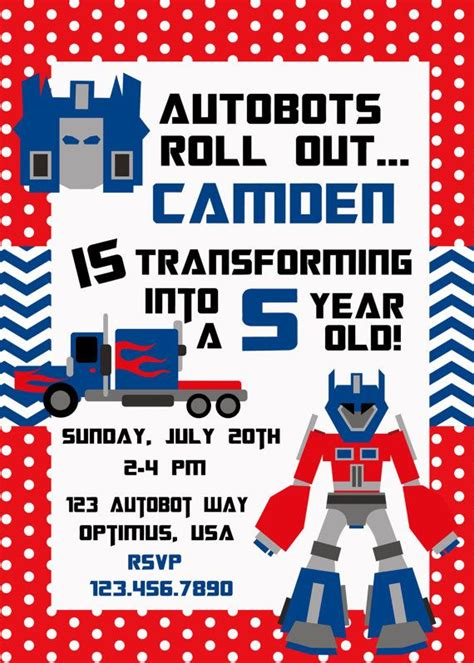 printable invitations transformers 55 best transformer birthday party ideas images on