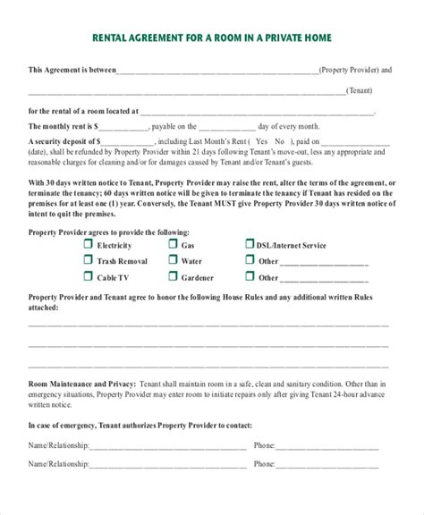 printable rental agreement month to month room rental agreement printable sle simple room rental