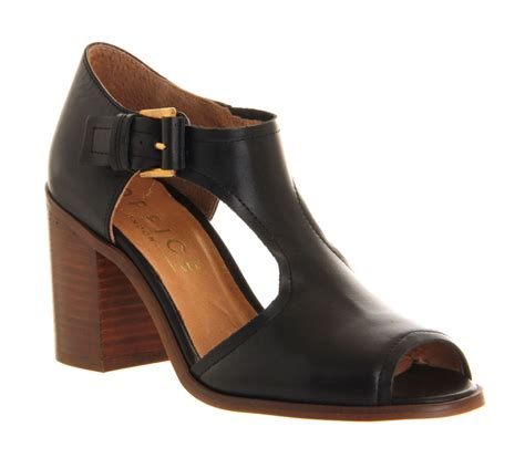 black block high heel shoes office dolly leather peeptoe block heel shoes in black