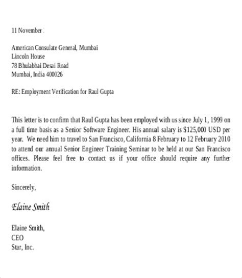 Employment Verification Letter With Salary Employee Verification Letter 10 Free Word Pdf