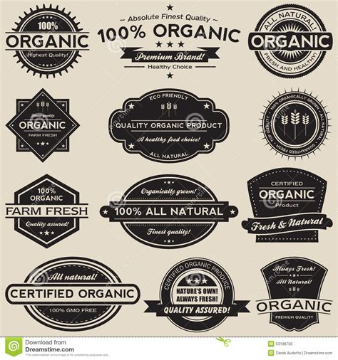 food label design eps organic food labels vector collection set stock vector