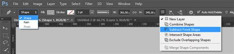 where is the shapes layer option in photoshop cs6 graphic design how to cut out one shape from another using photoshop